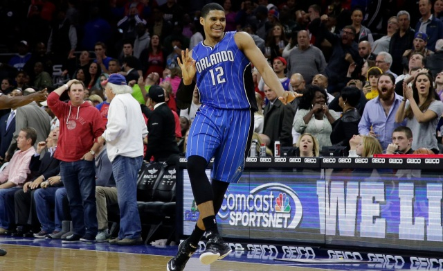 Orlando Magic's Tobias Harris reacts after making the game-winning two-point basket during the final second of an NBA basketball game against the Philadelphia 76ers, Wednesday, Nov. 5, 2014, in Philadelphia. Orlando won 91-89. (AP Photo/Matt Slocum)